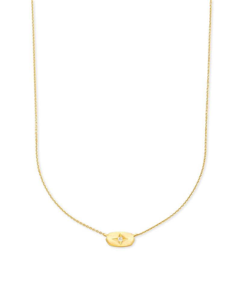 Fern 14k Yellow Gold Pendant Necklace in White Diamond