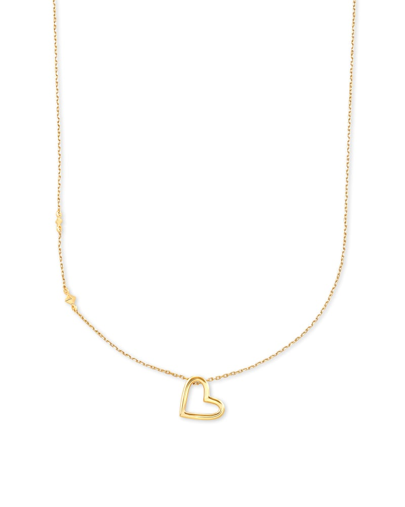 Open Heart Pendant Necklace in 14k Yellow Gold