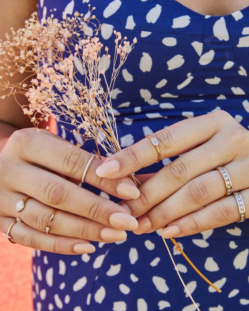 Drew 14k White Gold Band Ring in White Diamond