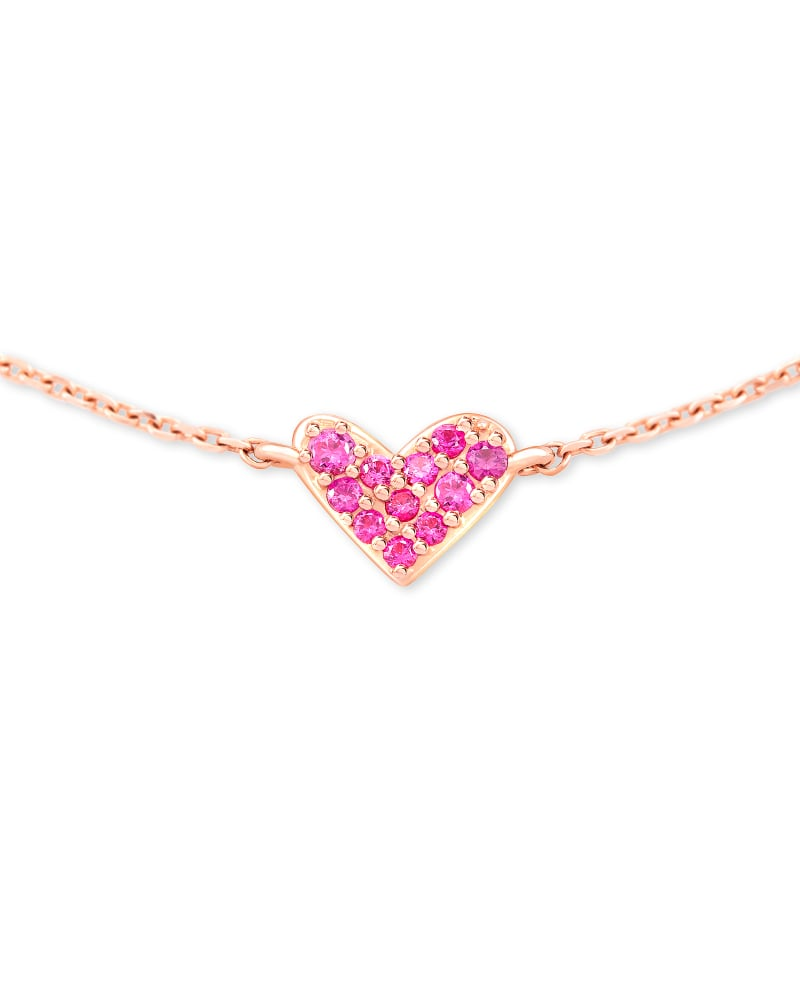 Heart 14k Rose Gold Pendant Necklace in Pink Sapphire