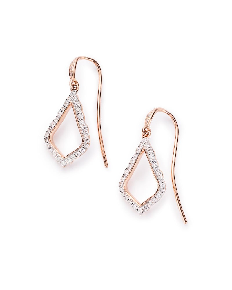 Liliana Drop Earrings in Pave Diamond and 14k Rose Gold