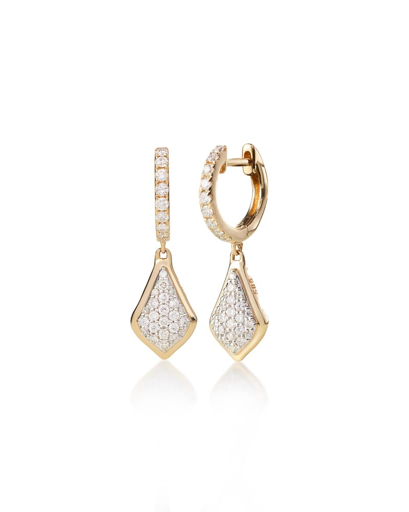 Luella Drop Earrings in Pave Diamond and 14k Yellow Gold