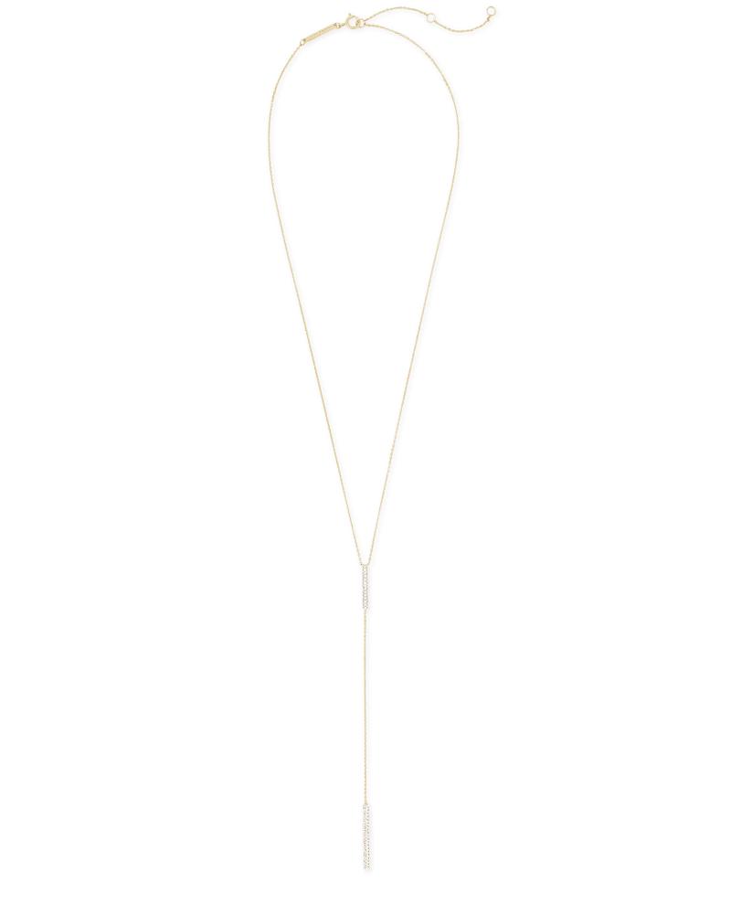 Remington 14k Yellow Gold Y Necklace in White Diamonds