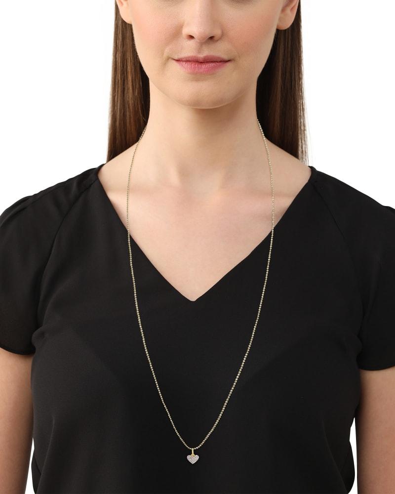 Ari 18k Gold Vermeil Pave Heart Charm in White Diamond