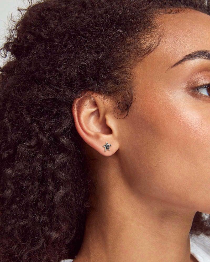 Star 14k Yellow Gold Stud Earrings in Black Diamonds