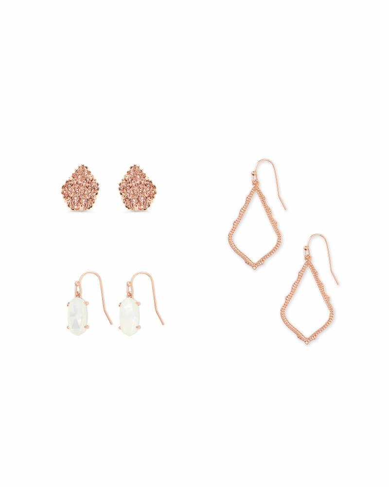 Tessa, Lemmi, & Sophia Earrings Gift Set in Rose Gold