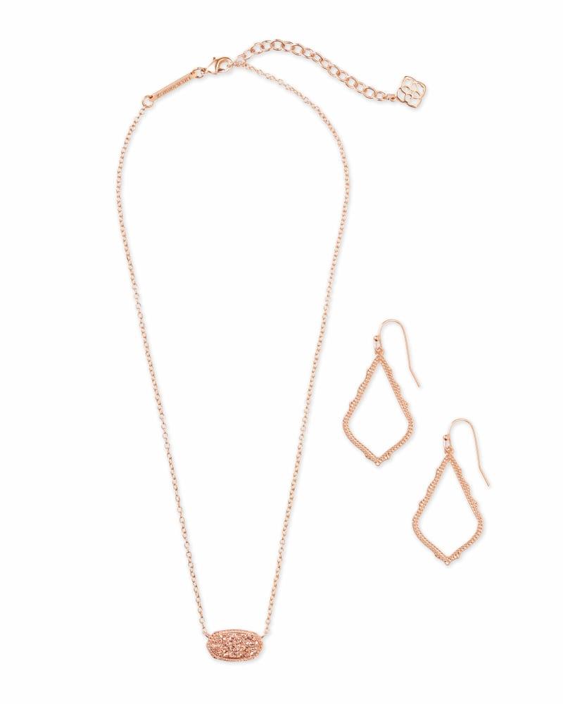 Sophia Earrings & Elisa Necklace Gift Set in Rose Gold
