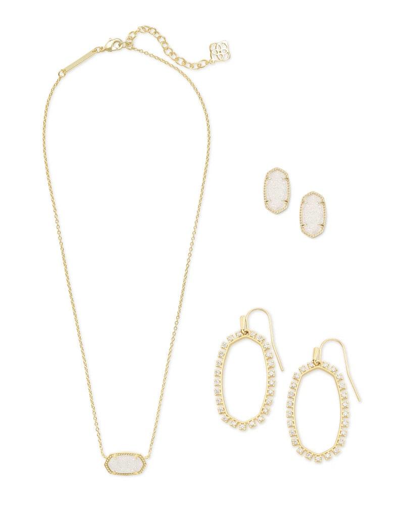 Elisa Necklace, Ellie Earrings, & Elle Open Frame Crystal Earrings Gift Set in Gold