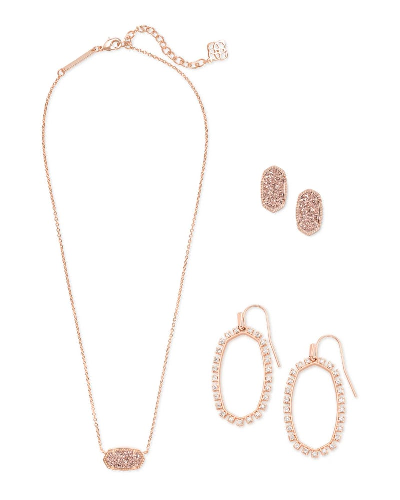 Elisa Necklace, Ellie Earrings, & Elle Open Frame Crystal Earrings Gift Set in Rose Gold