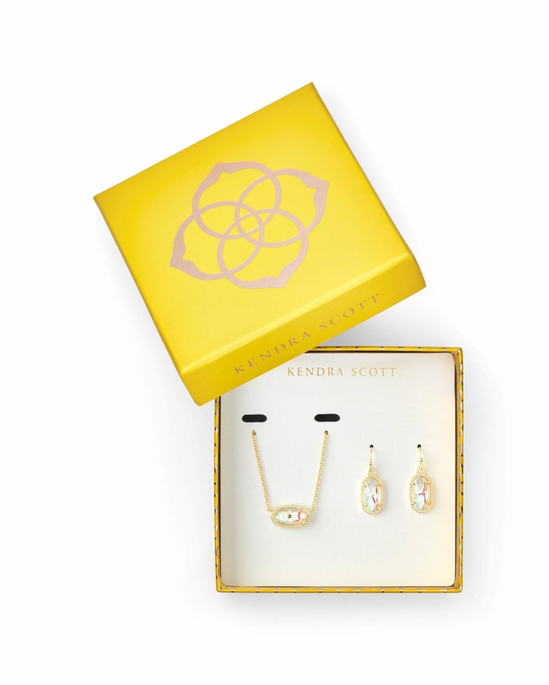 Elisa Necklace & Lee Earring Gold Gift Set In Dichroic Glass