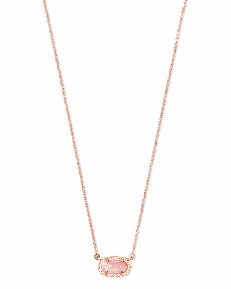 Ember Rose Gold Pendant Necklace in Light Pink Opal