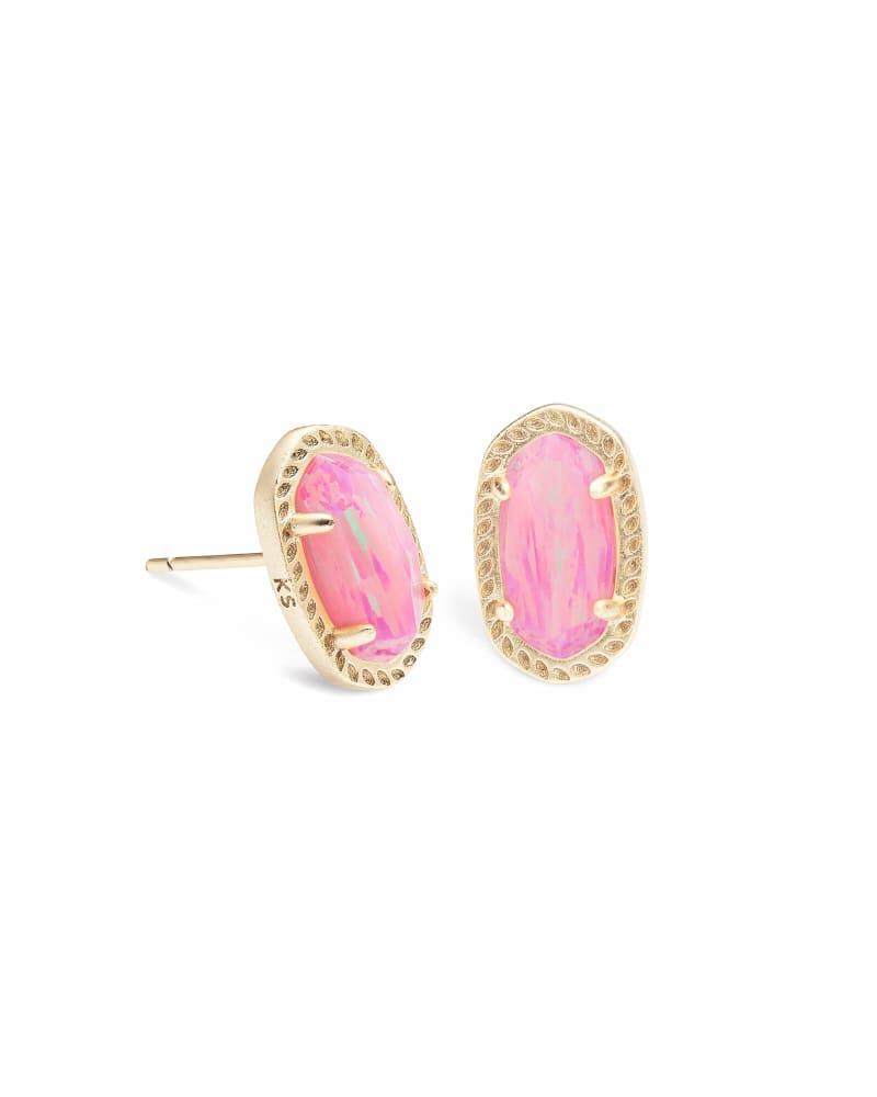 Emery Gold Stud Earrings in Light Pink Opal