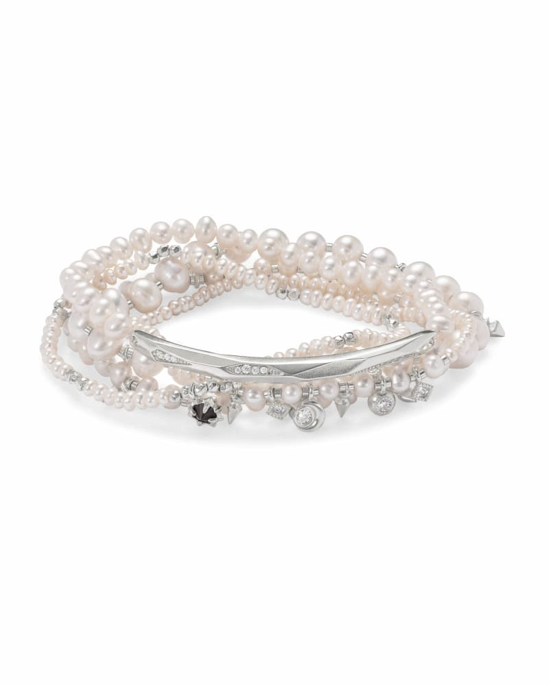 Supak Silver Beaded Bracelet Set in White Pearl