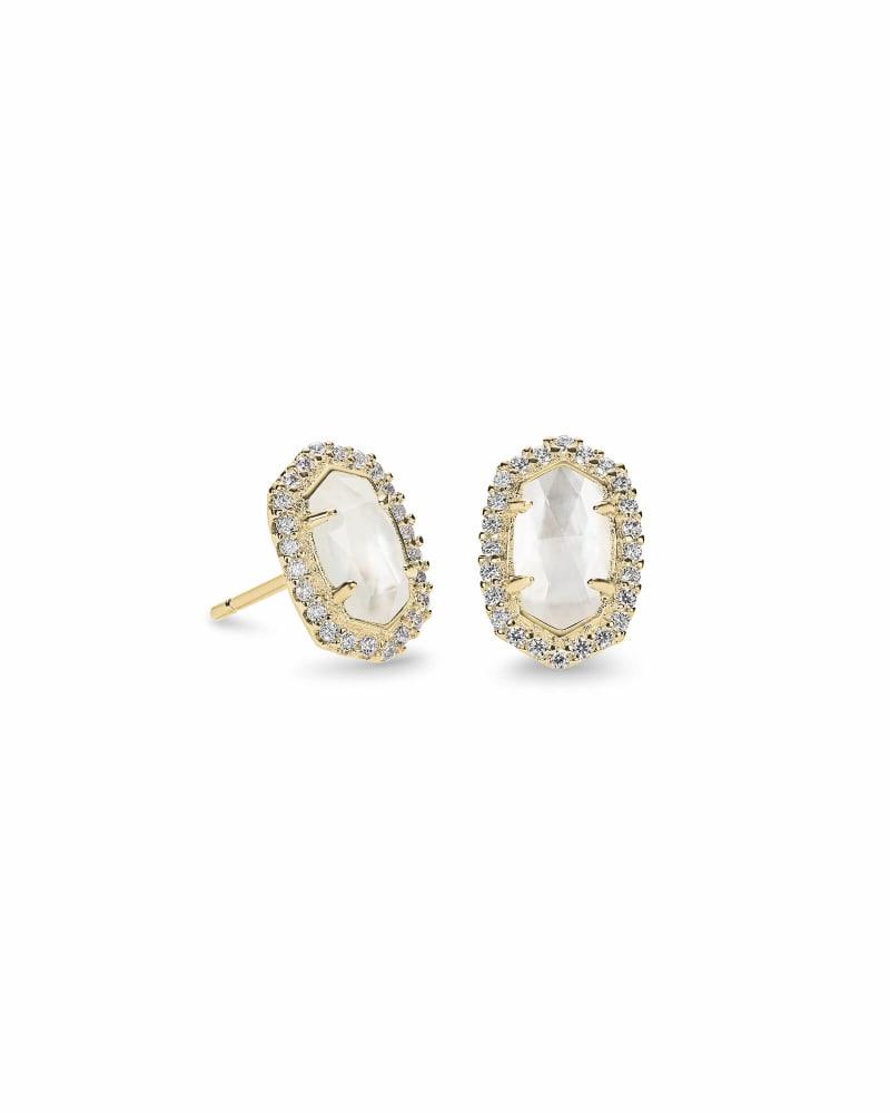 Cade Gold Stud Earrings in Ivory Pearl