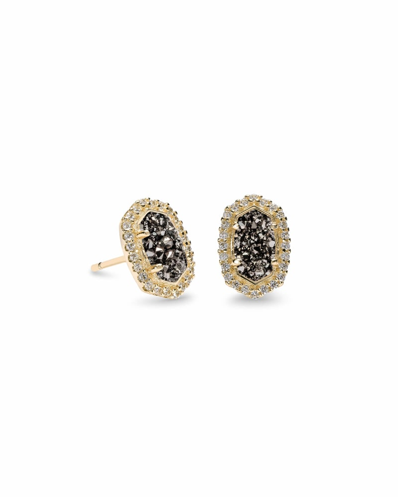 Cade Gold Stud Earrings in Platinum Drusy