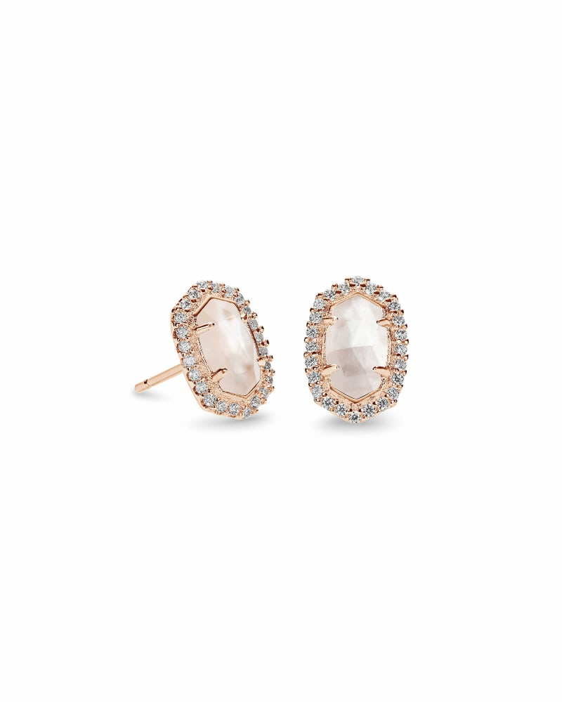 Cade Rose Gold Stud Earrings in Ivory Pearl