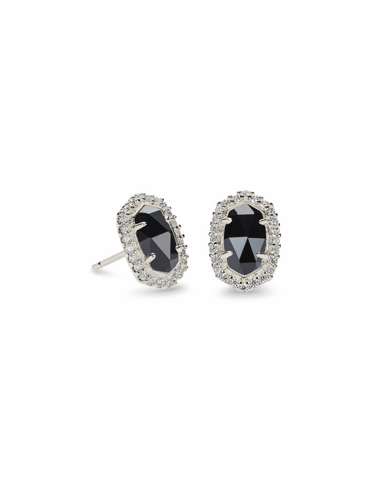 Cade Silver Stud Earrings in Black