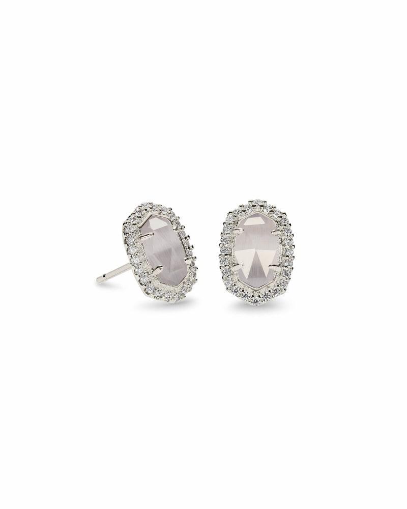 Cade Silver Stud Earrings in Slate Cats Eye
