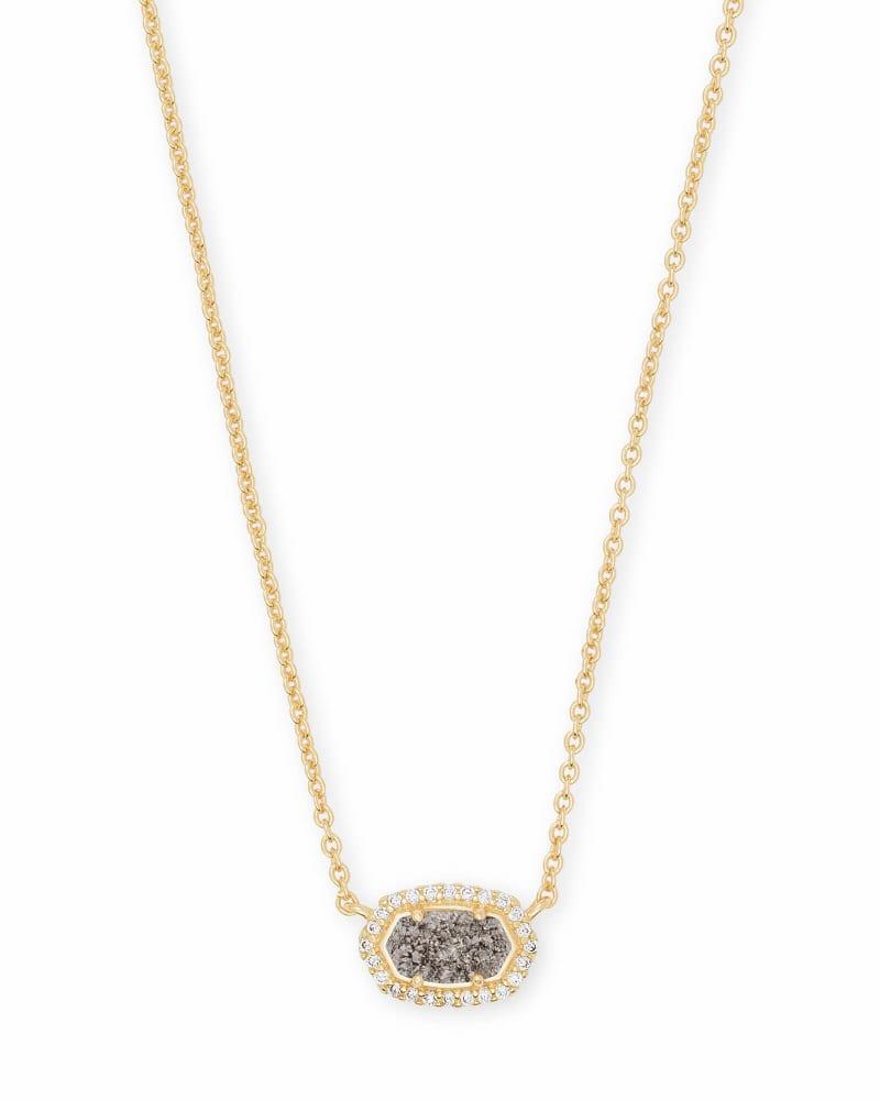 Chelsea Gold Pendant Necklace in Platinum Drusy
