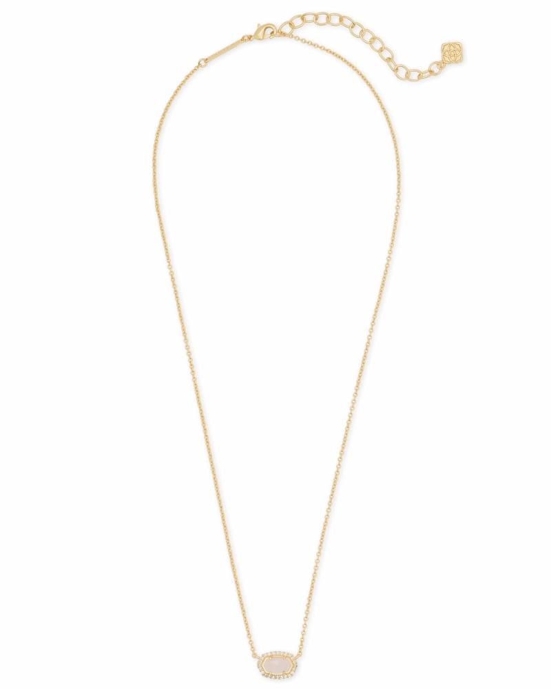 Chelsea Gold Pendant Necklace in Rose Quartz