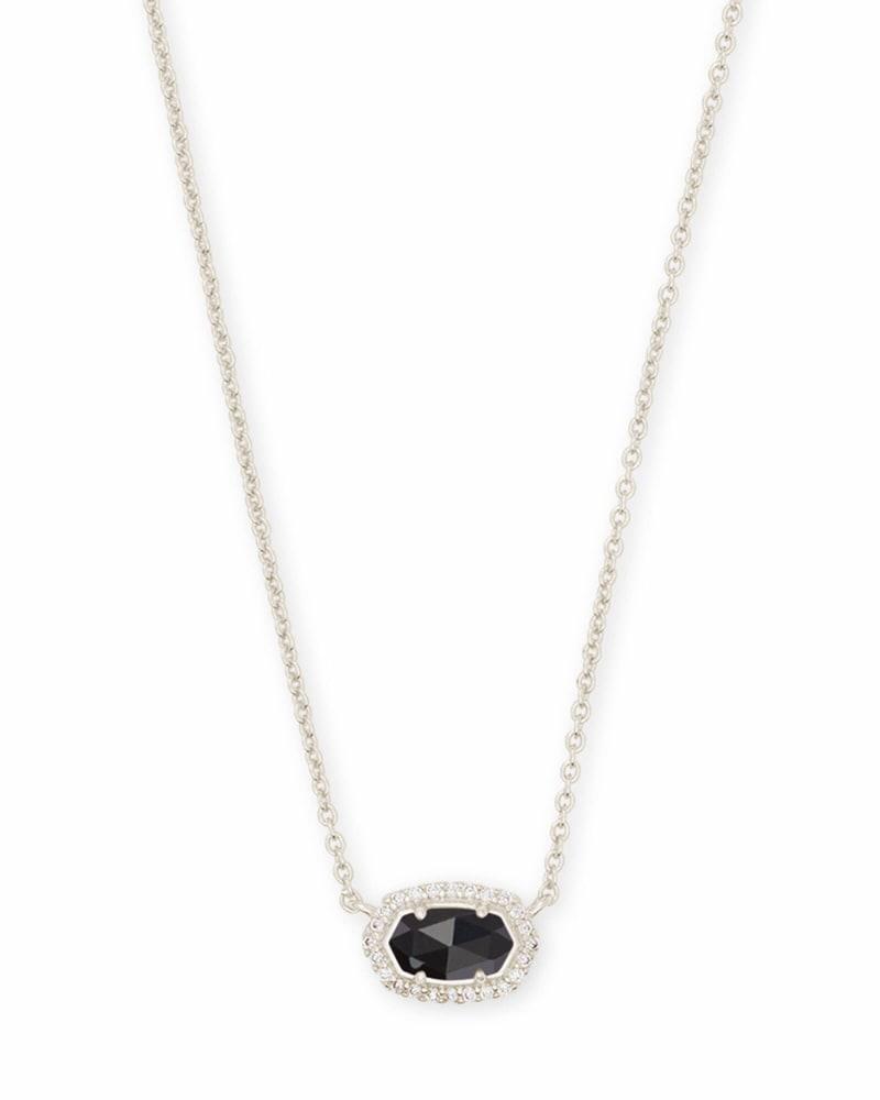 Chelsea Silver Pendant Necklace in Black