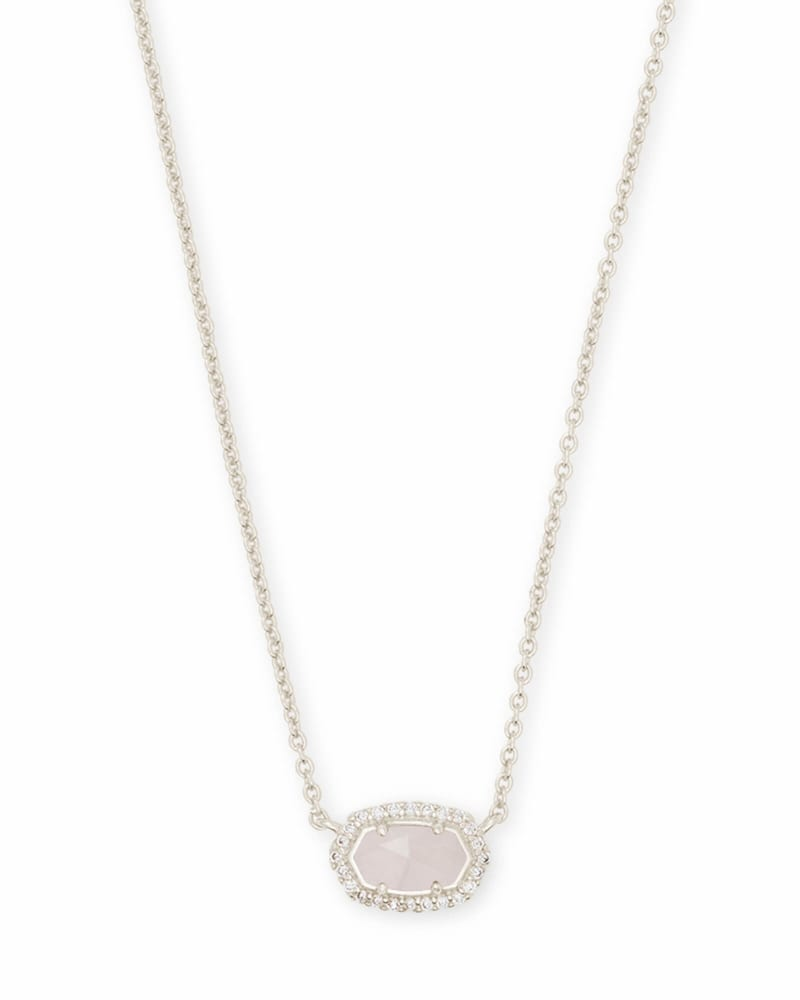 Chelsea Silver Pendant Necklace in Rose Quartz