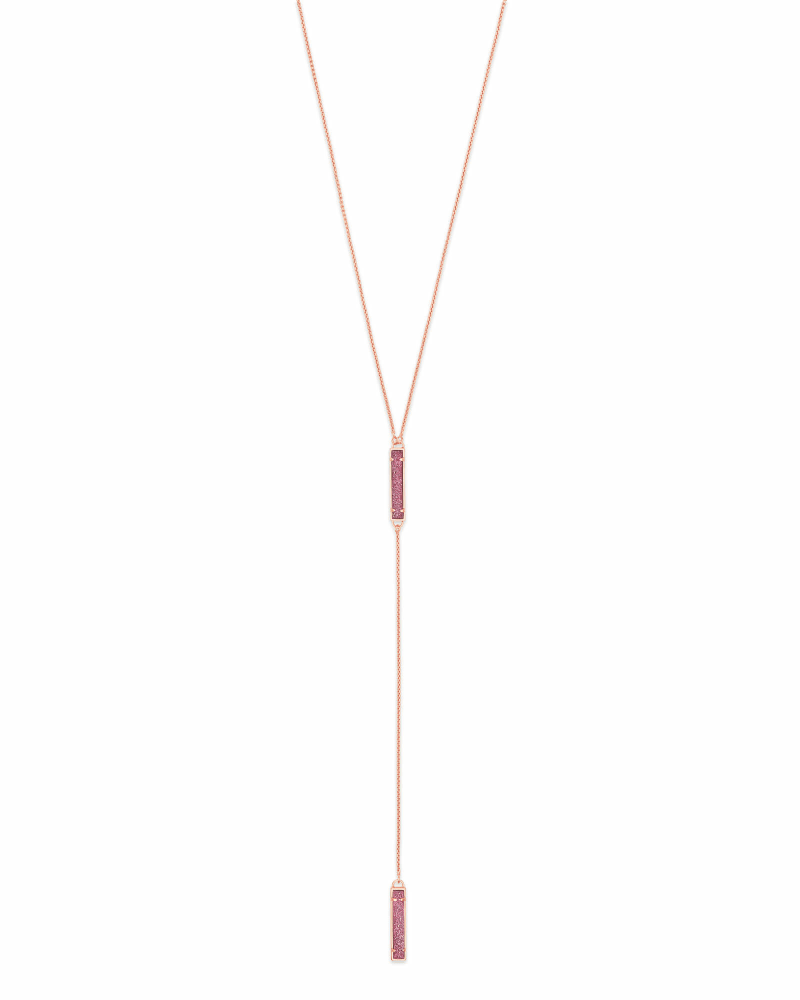Lilly Y Necklace in Rose Gold