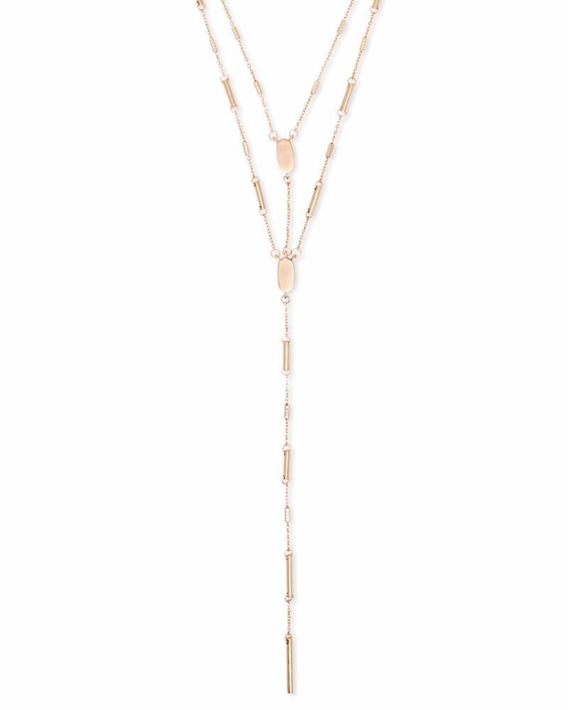 Adelia Y Necklace in Rose Gold