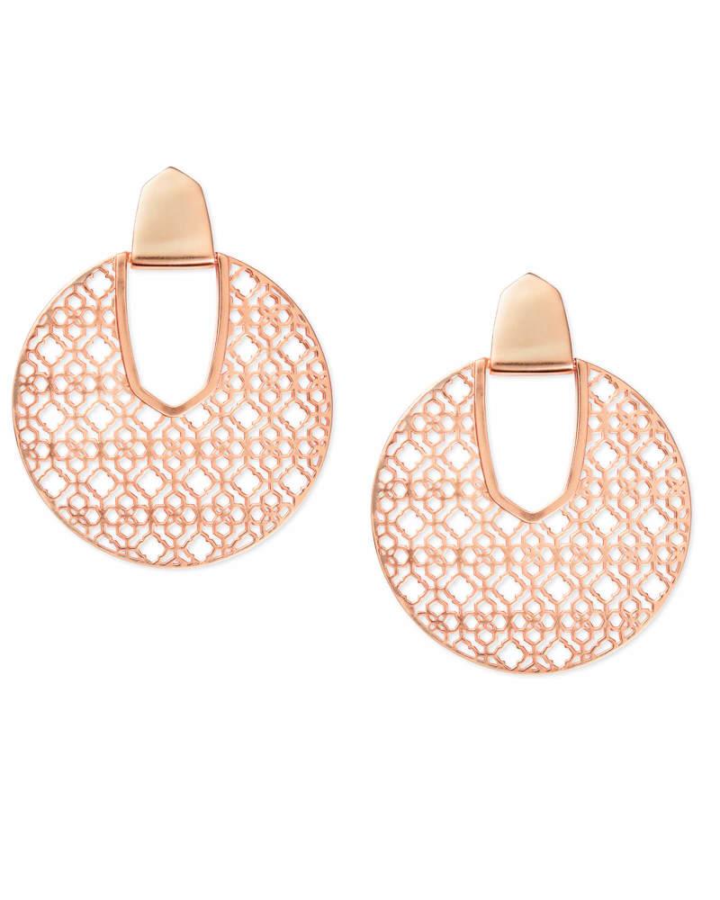 Diane Rose Gold Statement Earrings in Rose Gold Filigree