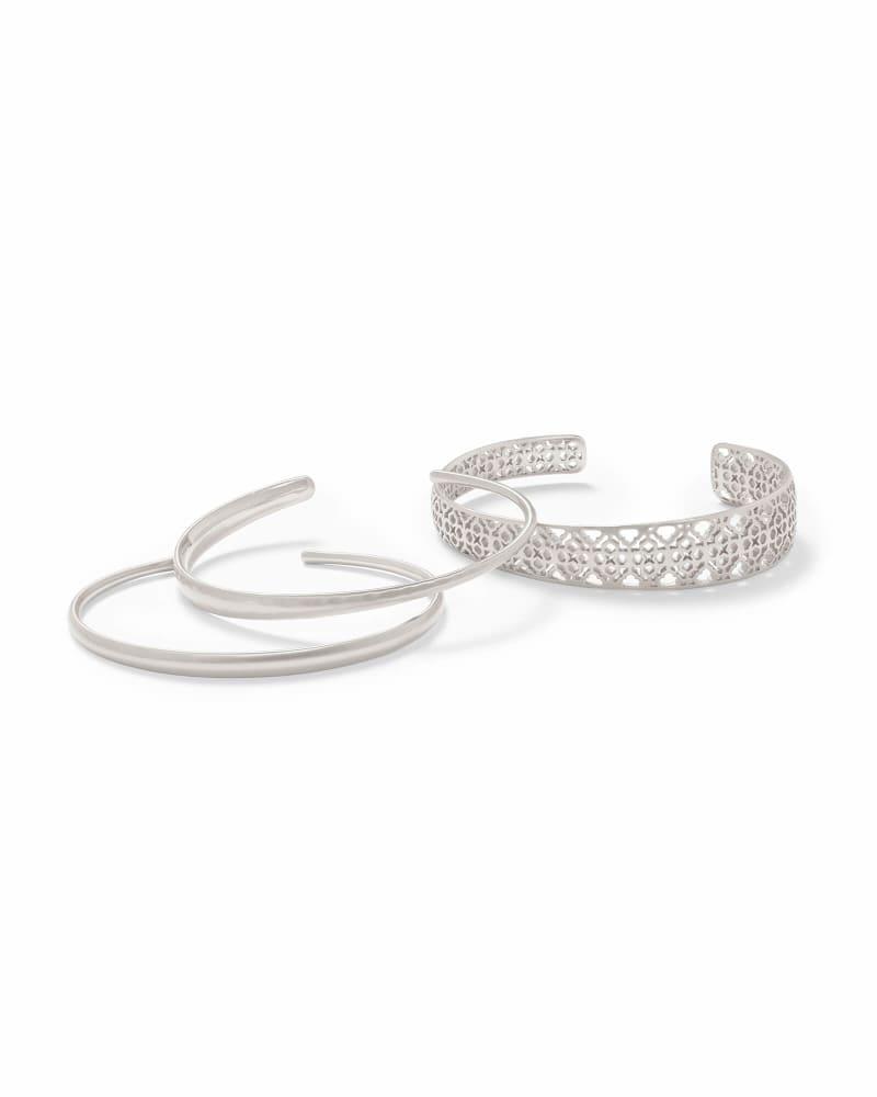 Tiana Silver Pinch Bracelet Set in Silver Filigree