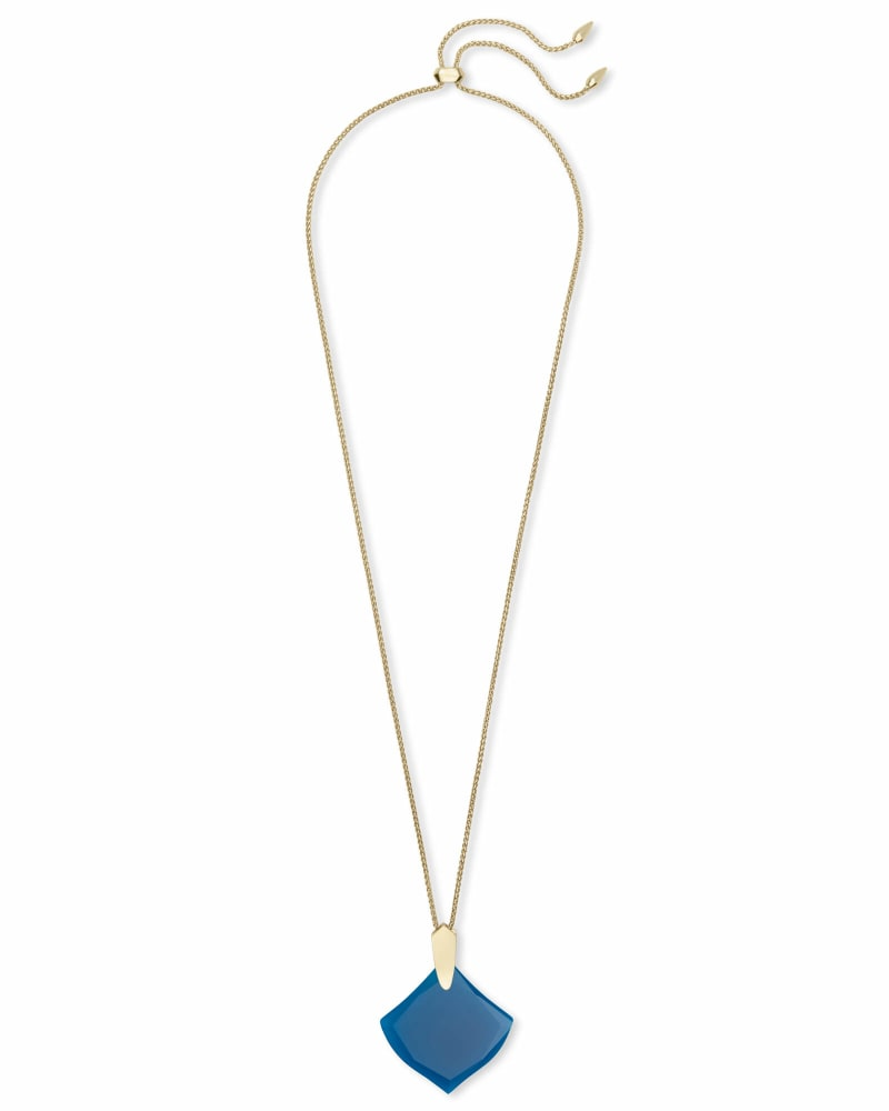 Aislinn Gold Long Pendant Necklace in Teal Agate