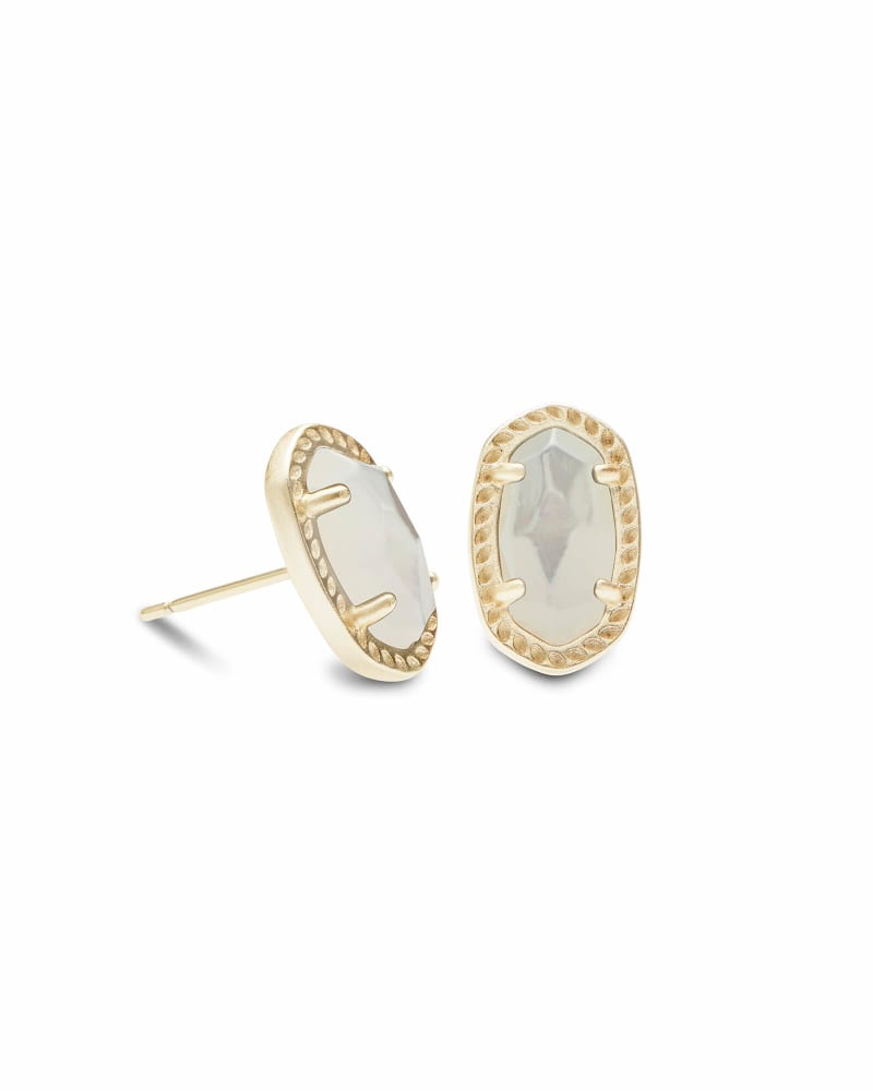 Emery Gold Stud Earrings in Ivory Pearl