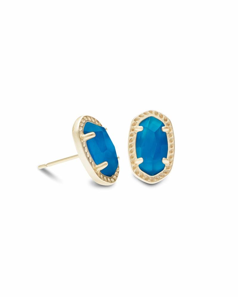 Emery Gold Stud Earrings in Teal Agate