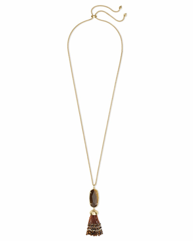 Eva Gold Long Pendant Necklace in Brown Tigers Eye