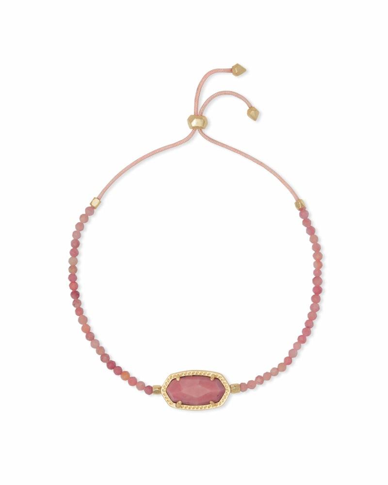Elaina Gold Beaded Chain Bracelet in Pink Rhodonite