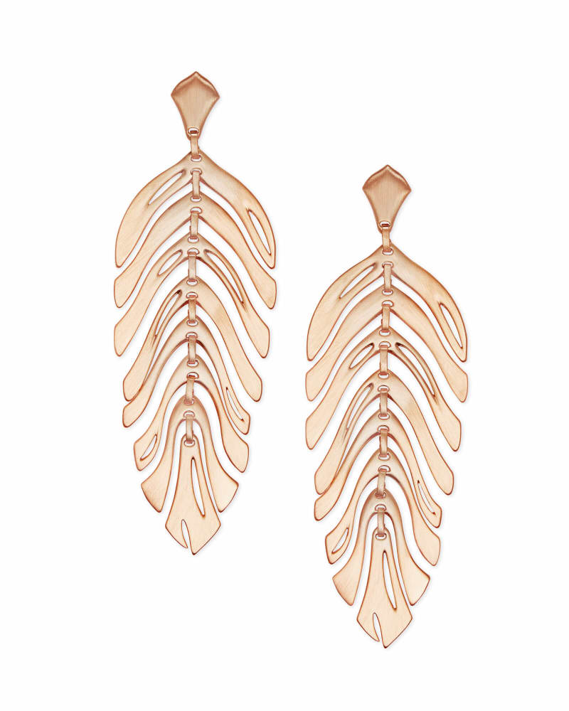 Lotus Statement Earrings in Rose Gold