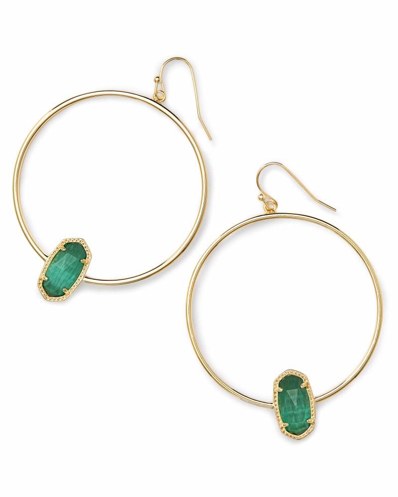 Elora Gold Hoop Earring In Emerald Cats Eye