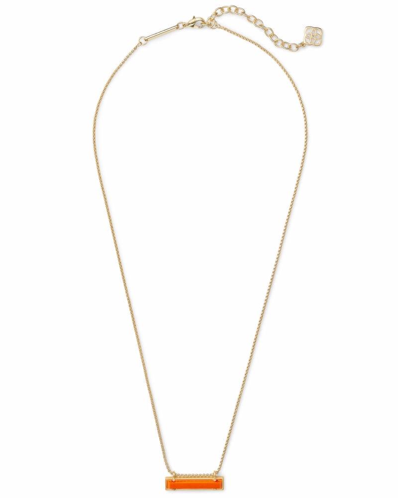 Leanor Gold Pendant Necklace in Orange
