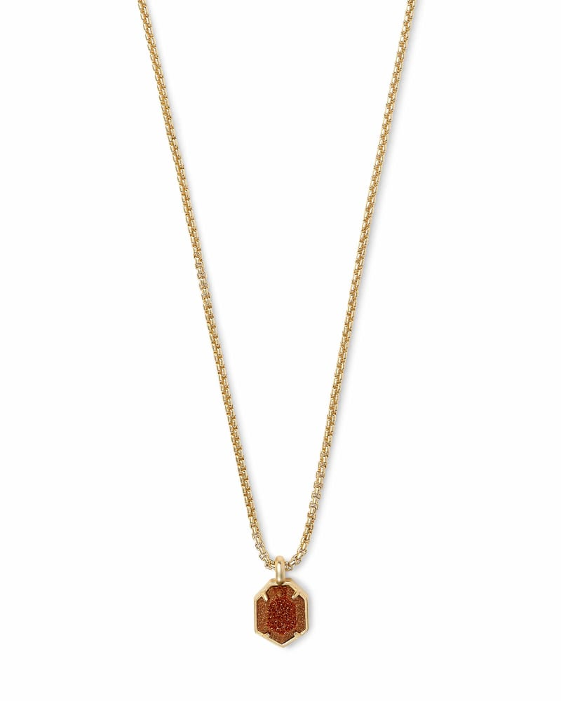 Teo Gold Pendant Necklace In Goldstone