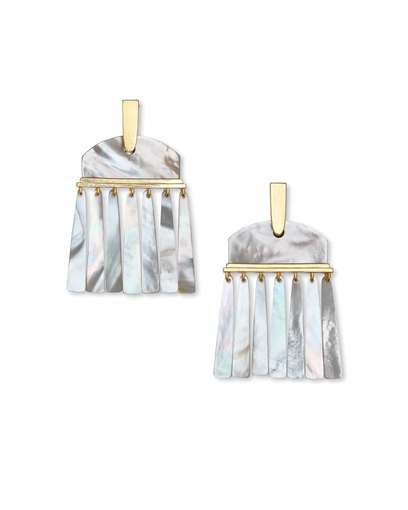 Layne Gold Statement Earrings in Ivory Pearl