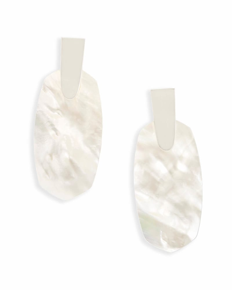 Aragon Bright Silver Drop Earrings in Ivory Pearl