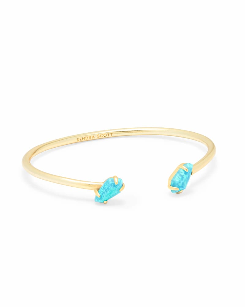 Jackson Gold Cuff Bracelet in Turquoise Kyocera Opal