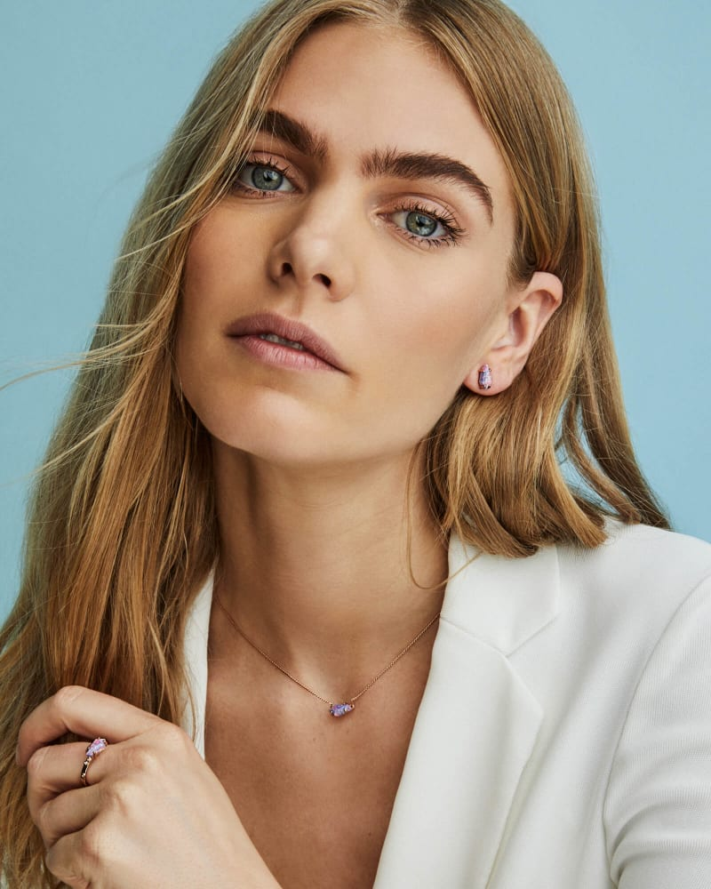 Jayde Gold Pendant Necklace in Magenta Kyocera Opal