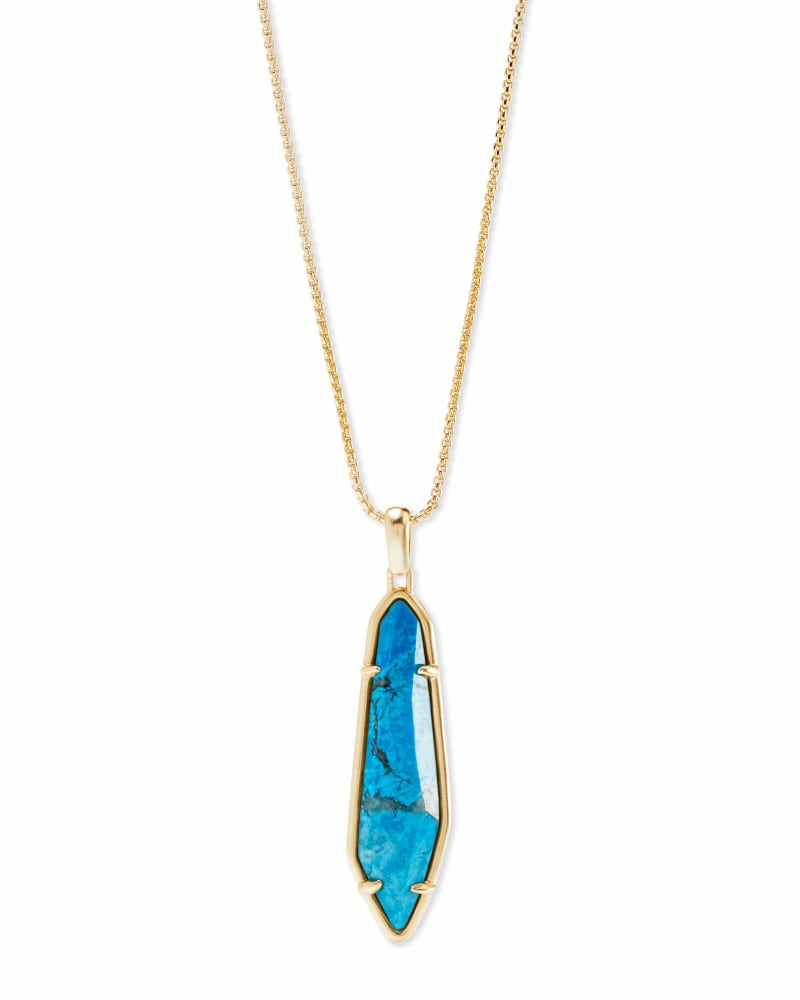 Cassidy Gold Pendant Necklace In Aqua Howlite