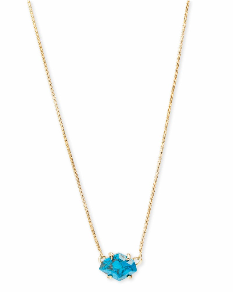 Ethan Gold Pendant Necklace In Aqua Howlite