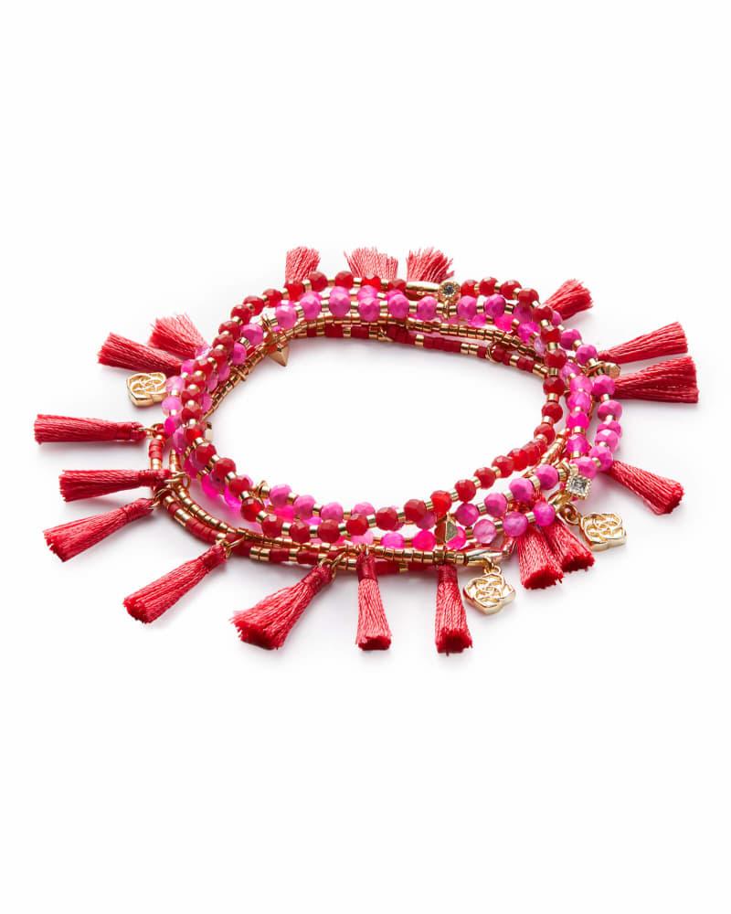 Julie Gold Stretch Bracelet Set In Pink Agate Mix