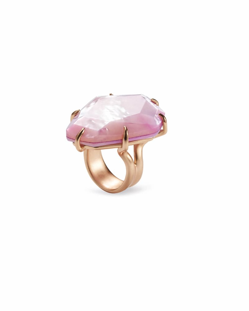 Megan Rose Gold Cocktail Ring In Lilac Mother-of-Pearl- 7