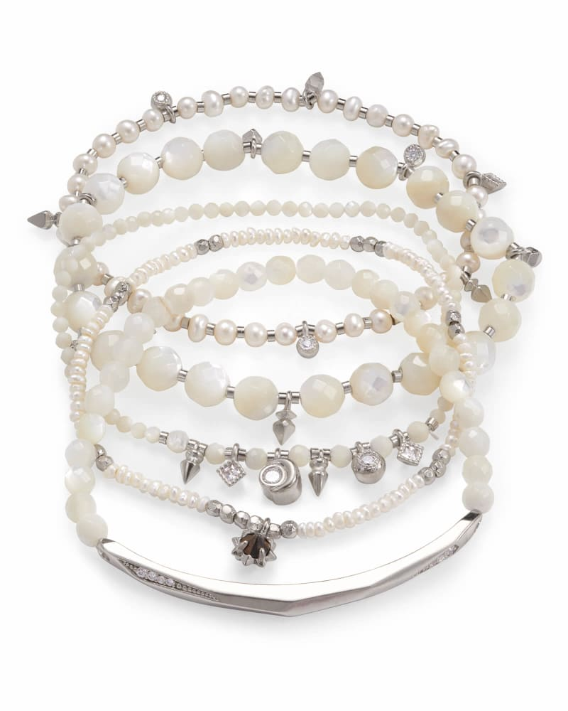 Supak Beaded Bracelet Set in Silver