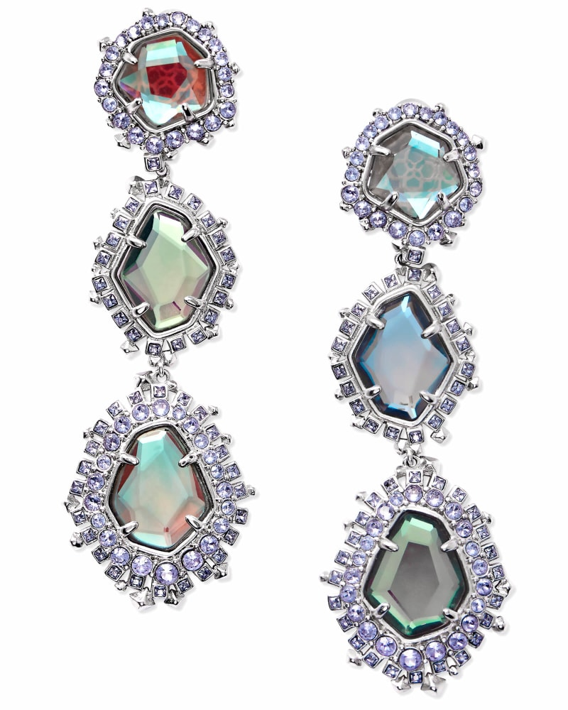 Aria Clip On Silver Statement Earrings in Gray Dichroic Glass