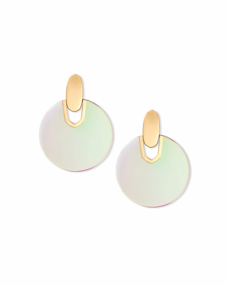 Didi Gold Statement Earrings in Dichroic Glass